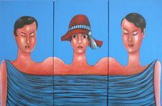 "VWL/ASIA/008 (A,B,C)  (Paris 2013 ""Womtych"")-Acrylic on canvas/Acrylique sur toile/Acrylico sobre tela (30X60cm)"