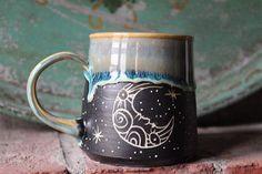 12 Pitch Pine Pottery Art Nouveau Stoneware Luna Moon Mug