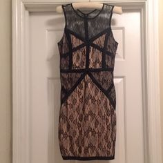 Black and Nude Illusion Bodycon Dress This Forever 21 dress is perfect for a date night or a night out with the girls. Fits like a glove!   • Sleeveless Bandage/Bodycon Mini Dress   • Detailed with a Black Criss Cross Print • Size Large But Fits like a Medium  • Black Lace Overlay   Brand new with tags attached. Never worn. No trades, please and thank you :-) Forever 21 Dresses Mini