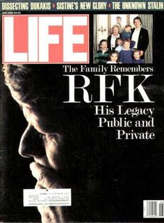 """June 1, 1988 Robert F. Kennedy ~ Life Magazine ~ June 1, 1988 issue ~ Click image or visit oldlifemagazines.com to purchase. Enter """"pinterest"""" at checkout for a 12% discount."""