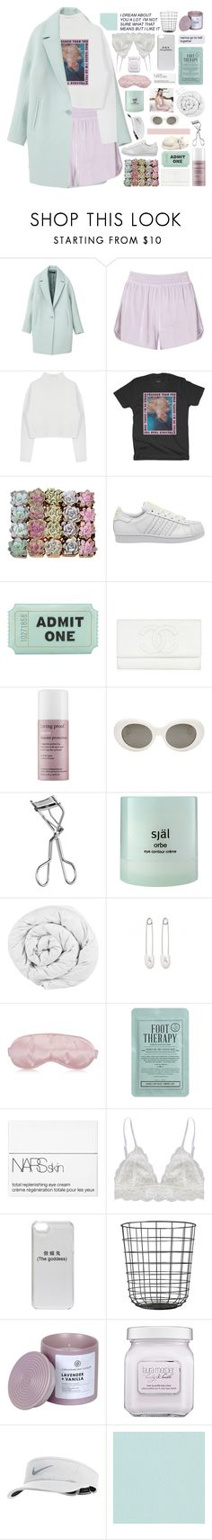 """""""TRYNA PLAY IT COY+ COLLAB WITH RACHEL"""" by breniixii ❤ liked on Polyvore featuring Miss Selfridge, Dion Lee, adidas, Kate Spade, Living Proof, Acne Studios, Lancôme, själ, The Fine Bedding Company and Kristin Cavallari"""