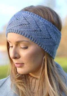 Knitting Pattern for Chevron Lace Headband - Quick and easy ear warmer with fun lace pattern.