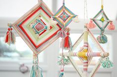 If you're looking for an alternative way to use up your yarn stash, these weavings are a beautiful and unique make. Hang them from the trees in your garden during summer, or as a quirky and fun decoration inside your home.