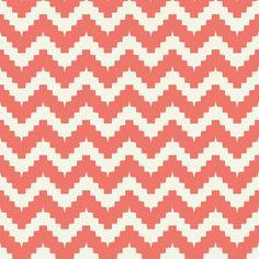 chevron coral fabric by ravynka on Spoonflower - custom fabric