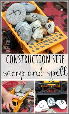 Learn the alphabet and practise spelling words using alphabet rocks in a construction site play activity! Lots of hands on fun and literacy learning for kids