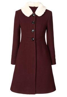 Heavy Wool Fur Collar Coat Burgundy--coat lust