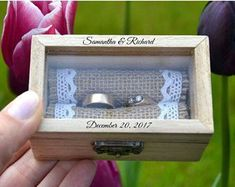 ring box, Personalized ring box with glass lid, wedding box, wooden ring box ,ring bearer box,engagement ring box, custom ring holder (R51)
