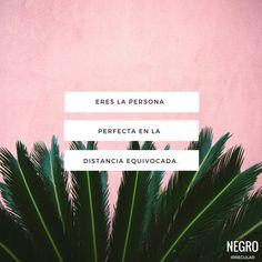 Eres la persona perfecta en la distancia equivocada... #NegroIrregular #frase #quote #frasedeldia
