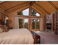 cabin style master bedroom.