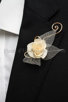 skeleton leaf boutonniere -LOVE this one!!!