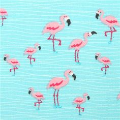 turquoise mini flamingo animal fabric Timeless Treasures USA