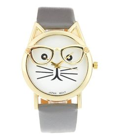 $9.99 marked down from $30! Gray Cat With Glasses Strap Watch #watch #cat #zulily! #zulilyfinds