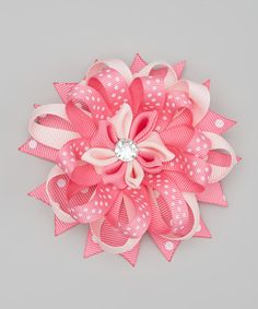 Another great find on #zulily! Bubbly Bows Pink Layered Flower Hair Clip by Bubbly Bows #zulilyfinds