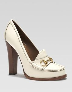 Alyssa Leather Loafer Pumps - Lyst