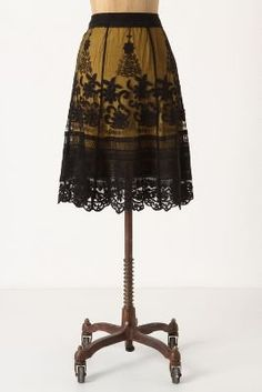 mustard and black lace skirt - anthropologie---So very similar to the skirt I found at ROSS for 12 bucks. Looks Style, Style Me, Black Lace Skirt, Look Retro, Cute Skirts, Fancy Skirts, Fall Outfits, Anthropologie, Vintage Outfits