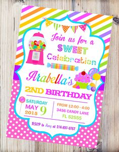 Candyland Printable Invitation Candy Shop Birthday with Candyland Invitations - Party Supplies Ideas Birthday Candy, 4th Birthday Parties, Birthday Ideas, 8th Birthday, Turtle Birthday, Turtle Party, Carnival Birthday, Diy Birthday Invitations, Printable Invitations