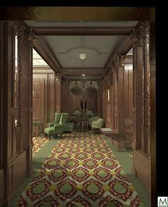 RMS Mauretania (1907) First Class Smoking Room - Entrance to 1st class Smoke Room, this is the port-side entrance which led from a vestibule connecting it to the 1st Class Lounge and the A deck promenade.