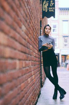 Kris Sugatan - Forever 21 Cropped Turtleneck, Asos Bandage Skirt, Miista Virginia Zip Front Heeled Ankle Boots - 0 1 0 5