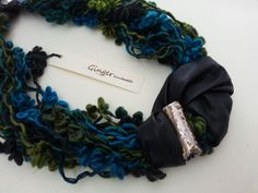 Handmade soft necklace: green, blue turquoise wool, black leather, gold raku ceramic bead