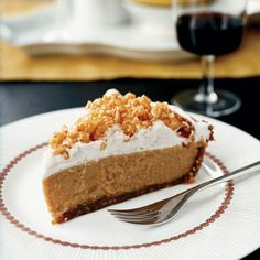 Caramel Cream Pie with Crispy Rice Topping | Humble ingredients like puffed rice cereal (transformed into a brilliant topping) and graham crackers (crushed with hazelnuts to yield a tender crust) are the core of this surprisingly luxe dessert.