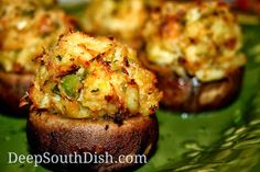 Crab Stuffed Mushrooms - Large stuffer mushroom caps, filled with a crabmeat stuffing and baked.