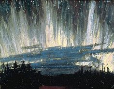 Northern Lights by Tom Thomson of the Group of Seven, circa 1915 Group Of Seven Artists, Group Of Seven Paintings, Paintings I Love, Emily Carr, Canadian Painters, Canadian Artists, Nocturne, Landscape Art, Landscape Paintings