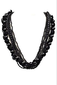 Add a sweet feminine touch with this trendy black fashionable beaded necklace   Imported