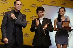#Recently John Travolta was at an # event in Singapore to launch the #Breitling Navtimer Blue Sky collection of aviation watches.