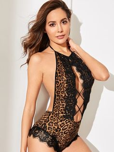 To find out about the High Neck Contrast Lace Criss Cross Leopard Teddy Bodysuit at SHEIN, part of our latest Sexy Lingerie ready to shop online today! Teddy Bodysuit, Bodysuit Lingerie, Lace Bodysuit, Criss Cross, Women Lingerie, Sexy Lingerie, Satin Color, Fashion News, Woman Fashion