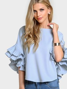 Casual Plain Top Regular Fit Boat Neck Half Sleeve Flounce Sleeve Blue and Pastel Pleated Ruffle Sleeve Curved Hem Top Ruffle Sleeve, Ruffle Blouse, Flutter Sleeve, Ruffle Top, Blue Blouse, Ruffle Collar, Outfit Elegantes, Frill Tops, Plain Tops