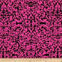 Michael Miller Midnight Trellis Gate Fuchsia from @fabricdotcom  From Michael Miller, this cotton print is perfect for quilting, apparel and home decor accents.  Colors include fuchsia and black.