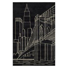Shop for Momeni Lil Mo Hipster Black Brooklyn Bridge Hand-Tufted Rug - x Get free delivery On EVERYTHING* Overstock - Your Online Home Decor Store! Hipster Decor, Kids Area Rugs, Black Rectangle, Black Aviators, Black Rug, White Rug, Color Black, Black White, Contemporary Area Rugs