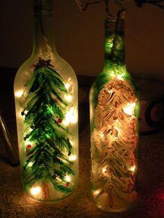 15 DIY Ways How to Reuse Glass Bottles, Glass bottle Christmas lights