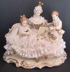 WILHELM-RITTIRSCH-DRESDEN-PORCELAIN-GROUP-FIGURINE-STORY-TIME. My mom's figurine.