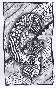Zentangle Letter G ZebrA Letters name bunting door ForeverTangles