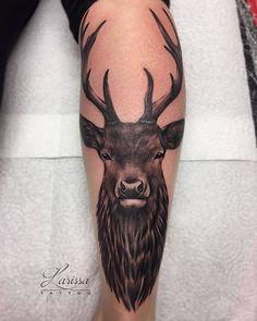 Ideas deer skull tattoo calf for 2020 Deer Skull Tattoos, Hunting Tattoos, Animal Tattoos, Leg Tattoos, Tattoos For Guys, Stag Tattoo Design, Traditional Tattoo Cat, Cute Dragon Tattoo, Small Mermaid Tattoo