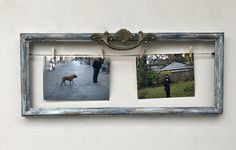 *Photo Frame Blue Rustic Distressed/Christmas Gift/ Wood/Cottage Vintage Decor/Ornate Vintage Drawer Pull/Two 4x6 *Frame size approximately 7 1/4 x 18. Shown with two 4x6 photos but you can us for smaller photos or art work as well. *6 mini paper clips included  *New SawnThooth Hook on
