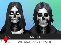 The Sims Resource: Unisex Skull Face Paint by SIms4Krampus • Sims 4 Downloads