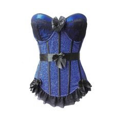 Atomic Jane True Blue Glitter Overbust Corset ($59) ❤ liked on Polyvore featuring tops, glitter top, blue corset top, corsette tops, blue top and corset tops