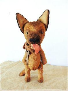 Sold. Puppy German shepherd's. Teddy dog. Teddy bear. Artist bears on Etsy, 176,95 €