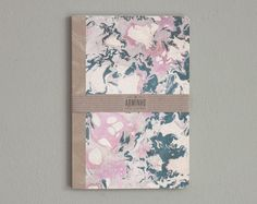 Marbled hard cover - notebook - lined - paper - rose -patter MARB5005B. $25.00, via Etsy.