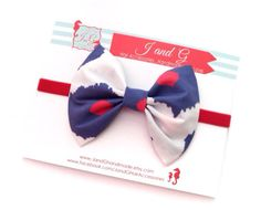 Baby/Child/Girls Fourth of July Hair Bow Headband by JandGhandmade, $6.95