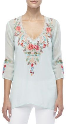 Johnny Was Embroidered V-Neck Julietta Blouse, Women's on shopstyle.com