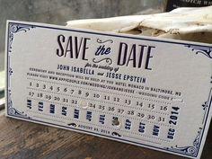 Letterpress Train Ticket Stub Save the Date.  Roaring 20's Wedding Invitation. Purple + Navy.