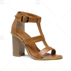 Faux Leather Buckle Strap Sandals ($33) ❤ liked on Polyvore featuring shoes, sandals, brown shoes and brown sandals