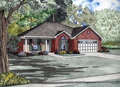 House Plan 61281, Order Code PT101   European Traditional Plan with 1214 Sq. Ft., 3 Bedrooms, 2 Bathrooms, 2 Car Garage