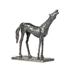 "This singular equine horse by Swiss Artist Diego Giacometti , the ""Cheval A La Tete Haute,"" French transl. of sculpture name is Horse With The Head High, is a bronze sculpture with a greenish brown patina, height is 6-5/8"", circa 1978, sold at Christie's Auction for $39,175.  http://somethingbeautifuljournal.blogspot.com/2009/06/art-and-artwork-on-budget-continued_28.html"