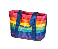 Prismatic. Maggie Bags Tote of Many Colors - Classic - Open Top. Seatbelt totes and handbags! Love the rainbow colors! #MaggieBags #ecofriendly #handbags