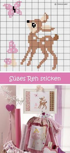 Süßes Rehkitz mit Schmetterling sticken #Sticken #Kreuzstich / #Rehkitz; #Embroidery #Crossstitch / #fawn / #ZWEIGART