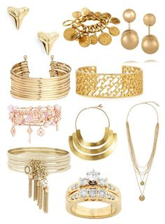 """""""Gold"""" by awesome3000 ❤ liked on Polyvore featuring ki-ele, Chanel, H&M, Kenneth Jay Lane, Tory Burch, Henri Bendel, Hervé Van Der Straeten, BCBGeneration, Vince Camuto and Kobelli"""